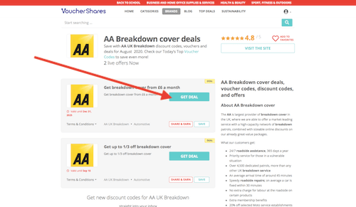 AA UK Breakdown discount codes page