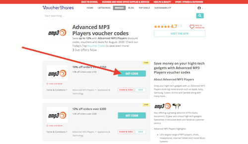 Advanced MP3 Players discount codes page