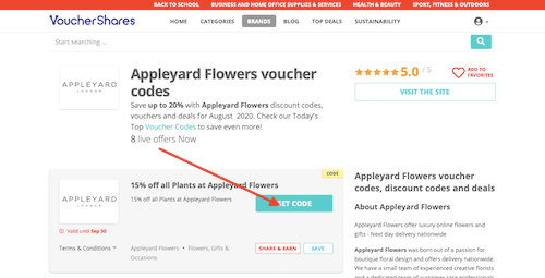 Appleyard Flowers voucher codes page