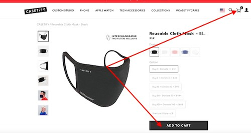 Casetify shopping cart