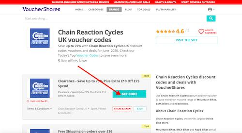 Chain Reaction Cycles discount codes page
