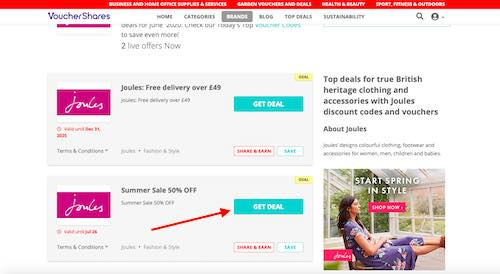 Joules Discount Codes Page