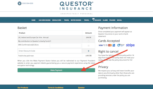 Questor Insurance check out page