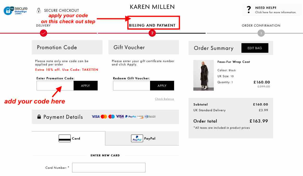 Where to add Karen Millen promotion code