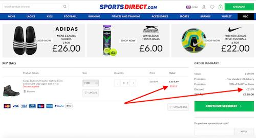Sports Direct Discount Code savings