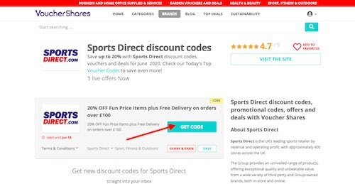 Sports Direct Discount Codes Page