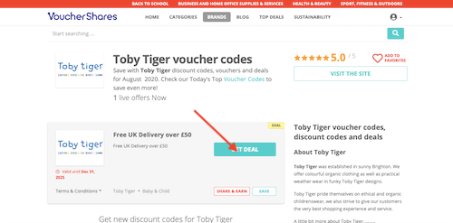 Toby Tiger voucher codes page