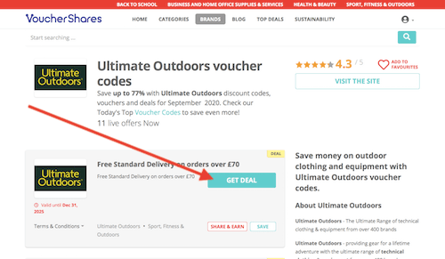 Ultimate Outdoors voucher codes page