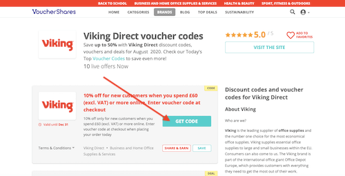Viking Direct voucher codes page