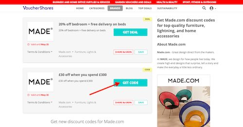 Made.com voucher codes page